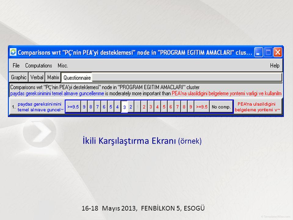İkili Karşılaştırma Ekranı (örnek) 16-18 Mayıs 2013, FENBİLKON 5, ESOGÜ