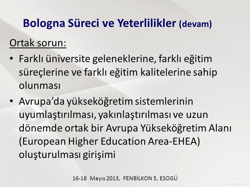 Ortak sorun: Farklı üniversite geleneklerine, farklı eğitim süreçlerine ve farklı eğitim kalitelerine sahip olunması Avrupa'da yükseköğretim sistemler