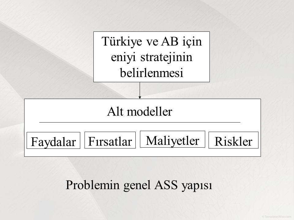 Türkiye ve AB için eniyi stratejinin belirlenmesi Faydalar Fırsatlar Maliyetler Riskler Alt modeller Problemin genel ASS yapısı
