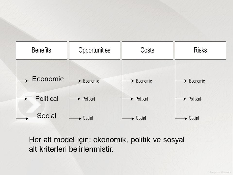 Her alt model için; ekonomik, politik ve sosyal alt kriterleri belirlenmiştir.