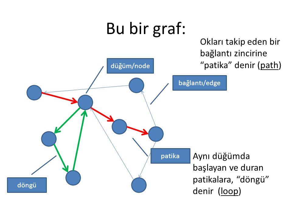 Bu bir graf: Okları takip eden bir bağlantı zincirine patika denir (path) düğüm/node bağlantı/edge patika Aynı düğümda başlayan ve duran patikalara, döngü denir (loop) döngü