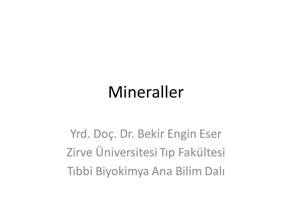 Mineraller Yrd. Doç. Dr. Bekir Engin Eser Zirve Üniversitesi Tıp Fakültesi Tıbbi Biyokimya Ana Bilim Dalı