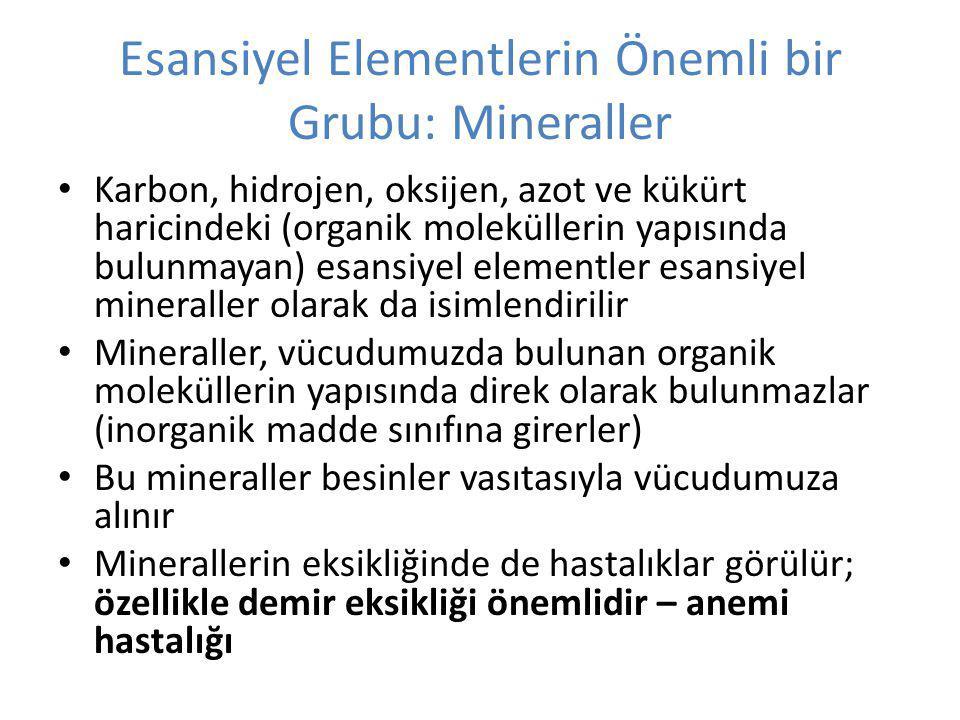Esansiyel Elementlerin Önemli bir Grubu: Mineraller Karbon, hidrojen, oksijen, azot ve kükürt haricindeki (organik moleküllerin yapısında bulunmayan) esansiyel elementler esansiyel mineraller olarak da isimlendirilir Mineraller, vücudumuzda bulunan organik moleküllerin yapısında direk olarak bulunmazlar (inorganik madde sınıfına girerler) Bu mineraller besinler vasıtasıyla vücudumuza alınır Minerallerin eksikliğinde de hastalıklar görülür; özellikle demir eksikliği önemlidir – anemi hastalığı