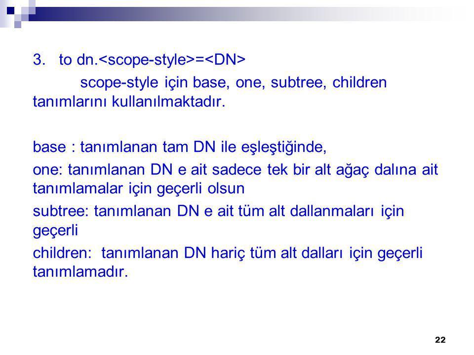 3.to dn. = scope-style için base, one, subtree, children tanımlarını kullanılmaktadır.
