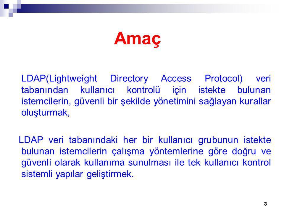 Dinamik LDAP Tanımlamasındaki Alt Parametreler: olcAccess: access to * by * read 24