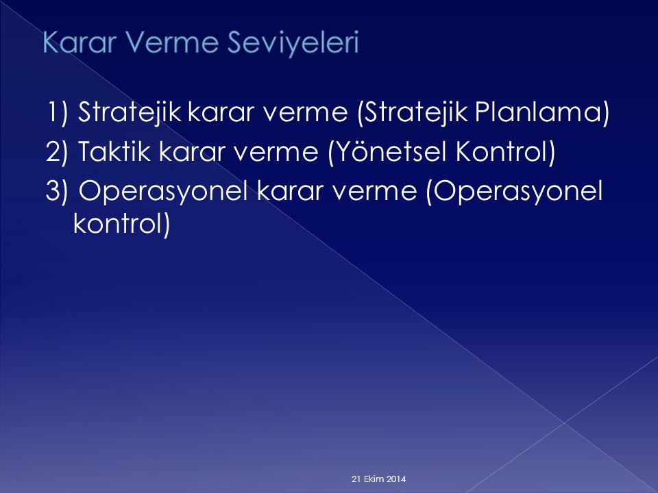 1) Stratejik karar verme (Stratejik Planlama) 2) Taktik karar verme (Yönetsel Kontrol) 3) Operasyonel karar verme (Operasyonel kontrol) 21 Ekim 2014
