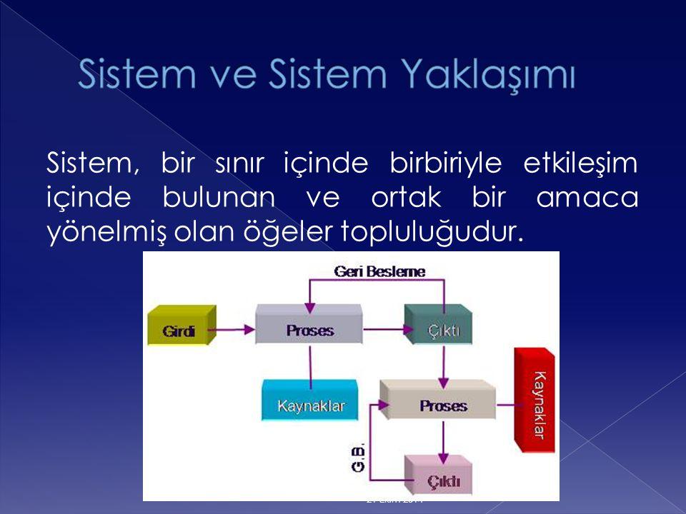 Sistem, bir sınır içinde birbiriyle etkileşim içinde bulunan ve ortak bir amaca yönelmiş olan öğeler topluluğudur. 21 Ekim 2014