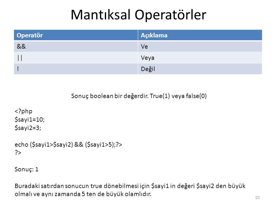 Mantıksal Operatörler OperatörAçıklama &&Ve ||Veya !Değil Sonuç boolean bir değerdir. True(1) veya false(0) <?php $sayi1=10; $sayi2=3; echo ($sayi1>$s