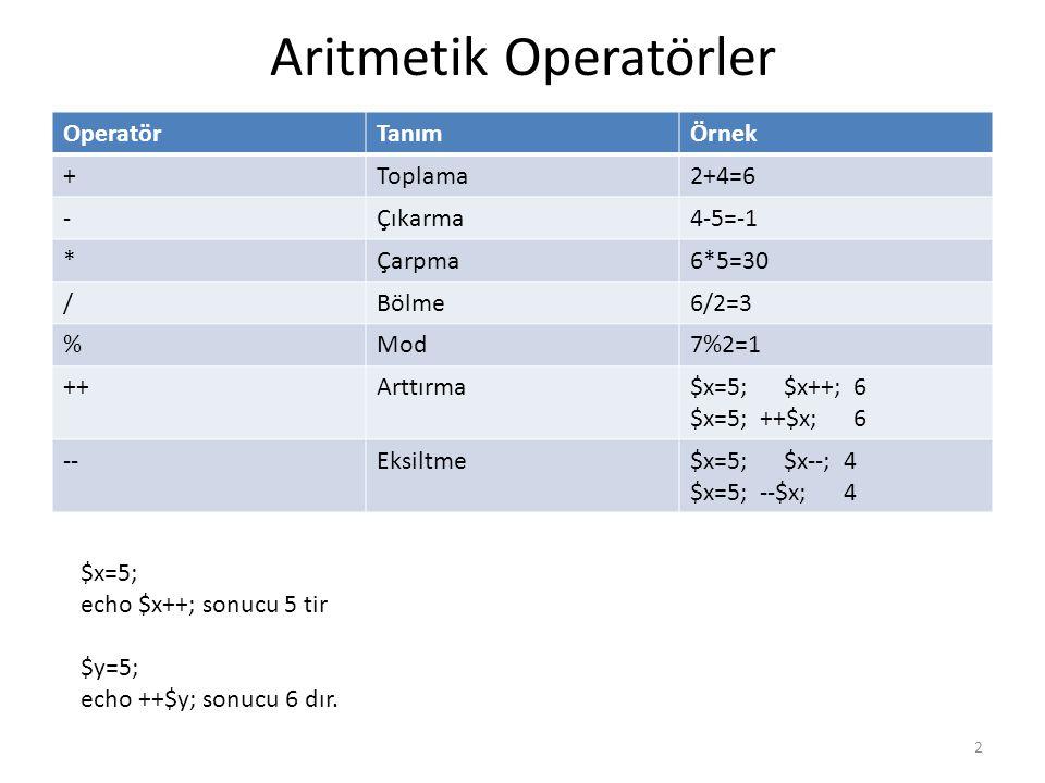 Aritmetik Operatörler OperatörTanımÖrnek +Toplama2+4=6 -Çıkarma4-5=-1 *Çarpma6*5=30 /Bölme6/2=3 %Mod7%2=1 ++Arttırma$x=5; $x++; 6 $x=5; ++$x; 6 --Eksi