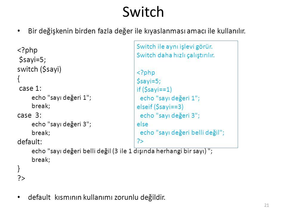 Switch Bir değişkenin birden fazla değer ile kıyaslanması amacı ile kullanılır. <?php $sayi=5; switch ($sayi) { case 1: echo