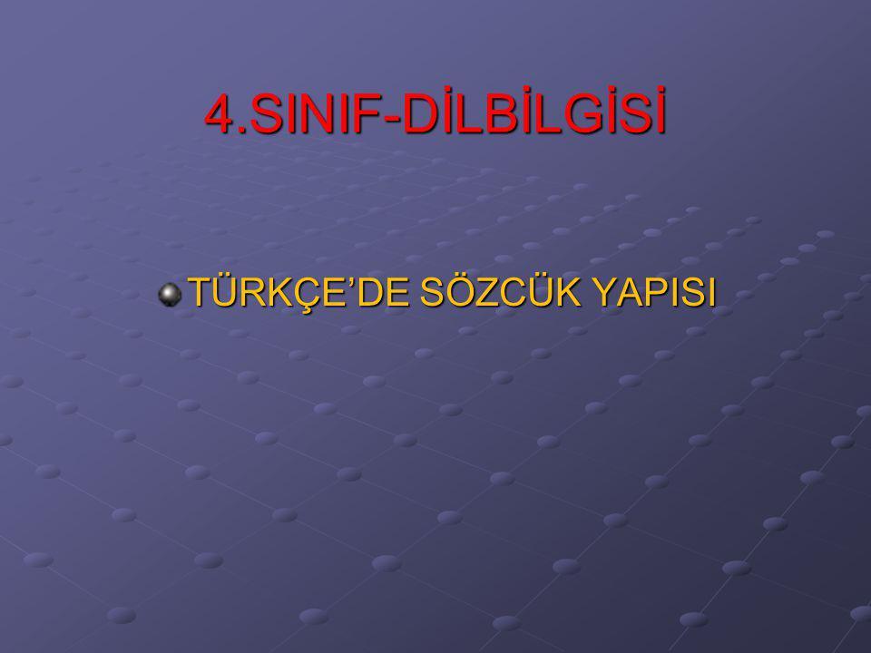 4.SINIF-DİLBİLGİSİ TÜRKÇE'DE SÖZCÜK YAPISI