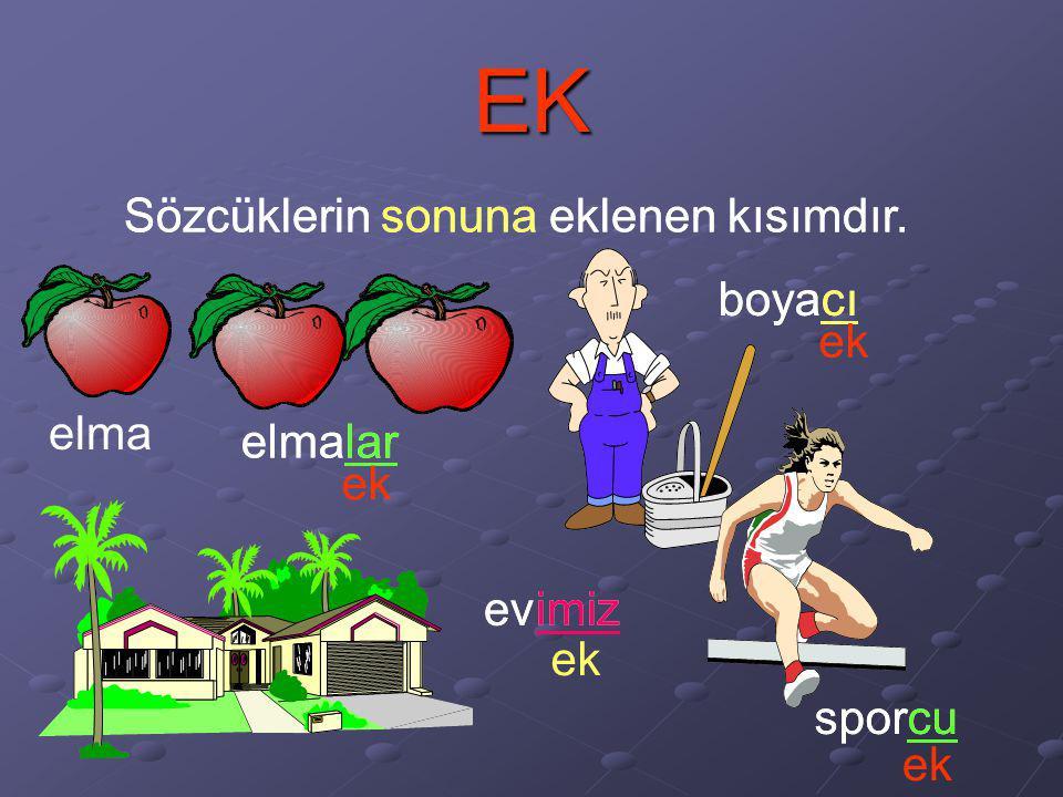 EK Sözcüklerin sonuna eklenen kısımdır. elma elmalar ek boyacı ek evimiz evimiz ek sporcu ek