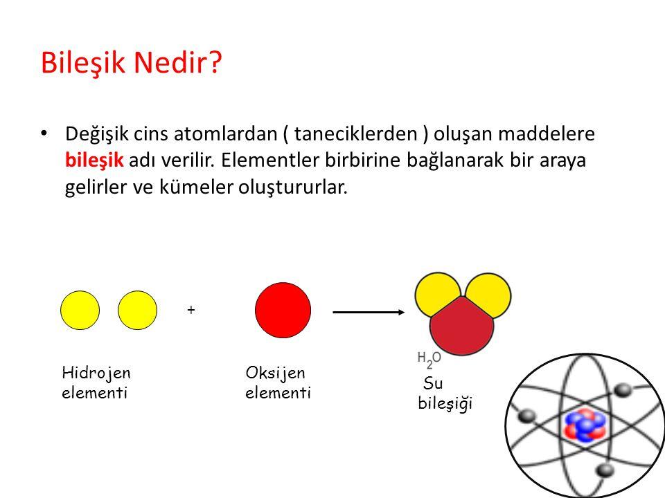 Bileşik Nedir? Değişik cins atomlardan ( taneciklerden ) oluşan maddelere bileşik adı verilir. Elementler birbirine bağlanarak bir araya gelirler ve k