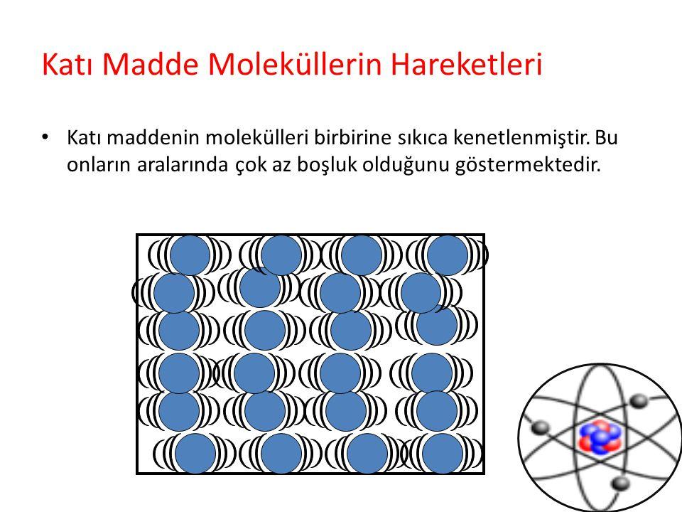 Katı Madde Moleküllerin Hareketleri Katı maddenin molekülleri birbirine sıkıca kenetlenmiştir. Bu onların aralarında çok az boşluk olduğunu göstermekt