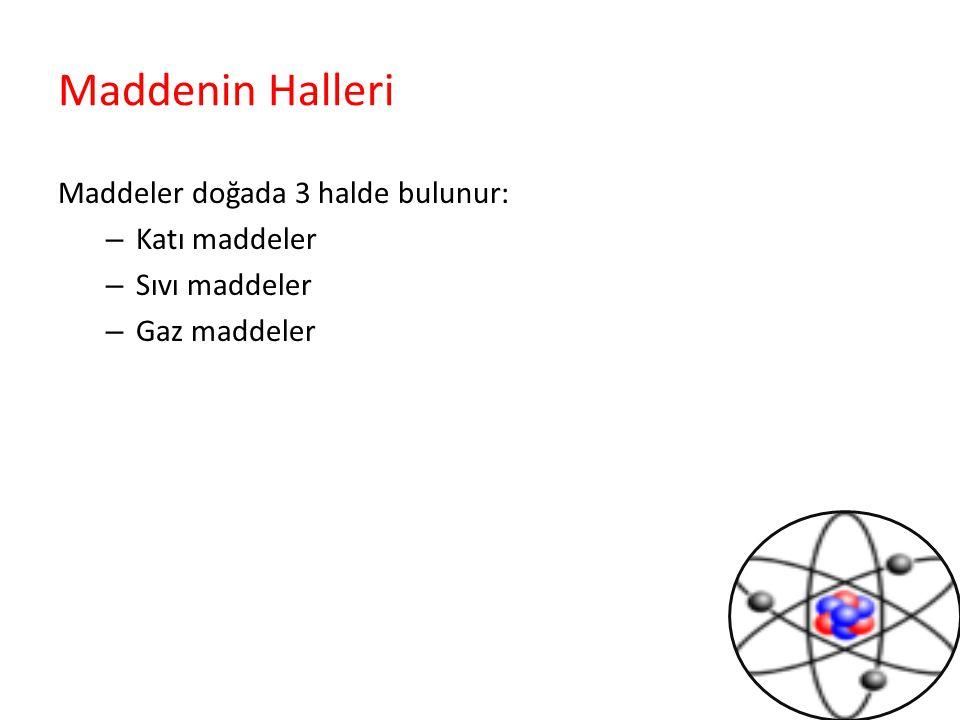 Maddenin Halleri Maddeler doğada 3 halde bulunur: – Katı maddeler – Sıvı maddeler – Gaz maddeler