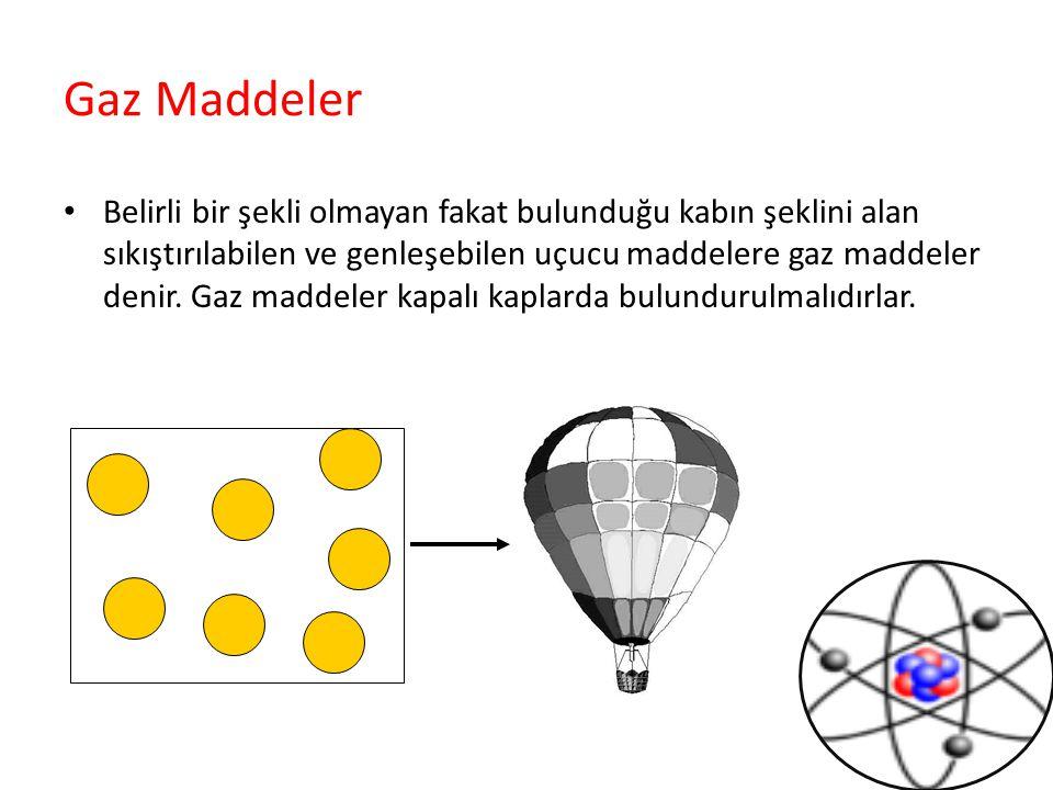 Gaz Maddeler Belirli bir şekli olmayan fakat bulunduğu kabın şeklini alan sıkıştırılabilen ve genleşebilen uçucu maddelere gaz maddeler denir. Gaz mad