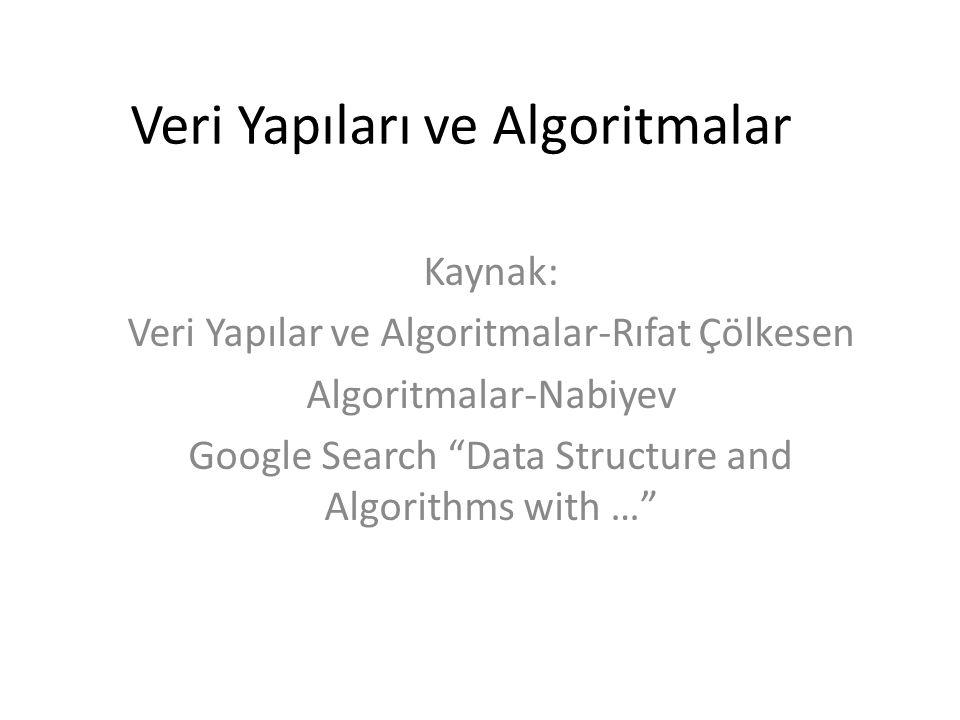 """Veri Yapıları ve Algoritmalar Kaynak: Veri Yapılar ve Algoritmalar-Rıfat Çölkesen Algoritmalar-Nabiyev Google Search """"Data Structure and Algorithms wi"""