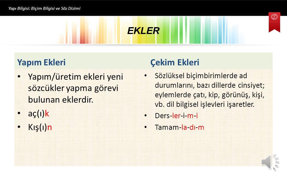 EKLER Yapı Bilgisi: Biçim Bilgisi ve Söz Dizimi Yapım Ekleri Yapım/üretim ekleri yeni sözcükler yapma görevi bulunan eklerdir.
