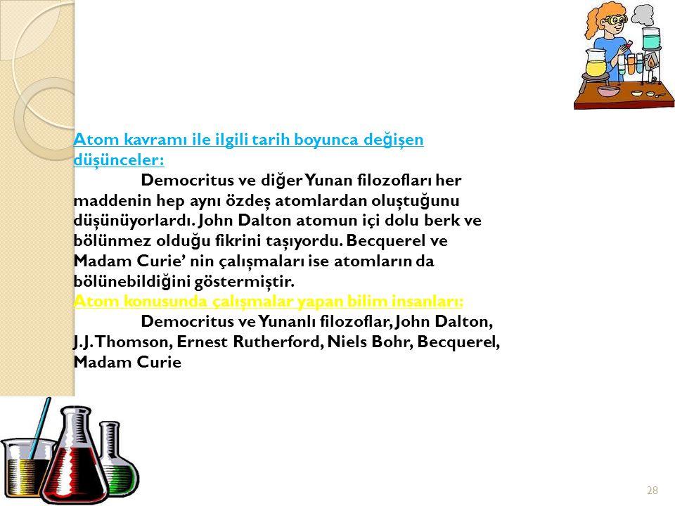 Tarihten ◦A◦A TOMUN TARİHÇESİ JJohn Dalton(1766-1844) JJ.J.Thomson(1856-1940) EErnest Rutherfort(1871-1937) NNiels Bohr(1885-1962) 27