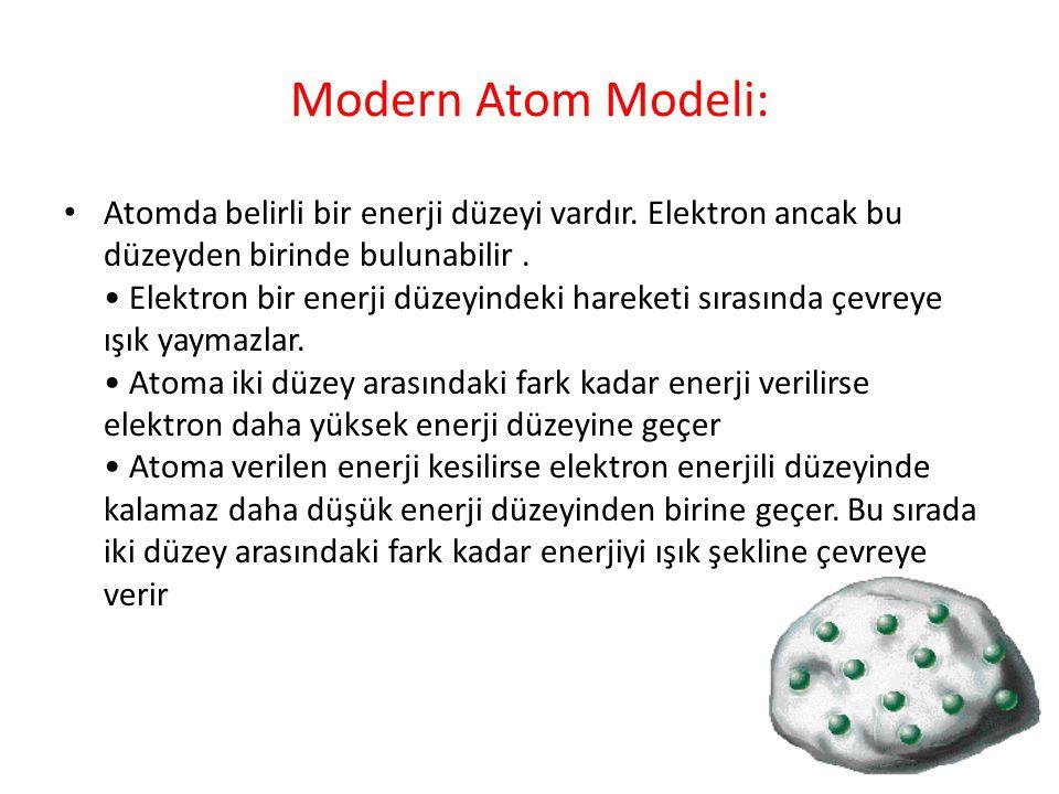 Modern Atom Modeli: Atomda belirli bir enerji düzeyi vardır. Elektron ancak bu düzeyden birinde bulunabilir. Elektron bir enerji düzeyindeki hareketi