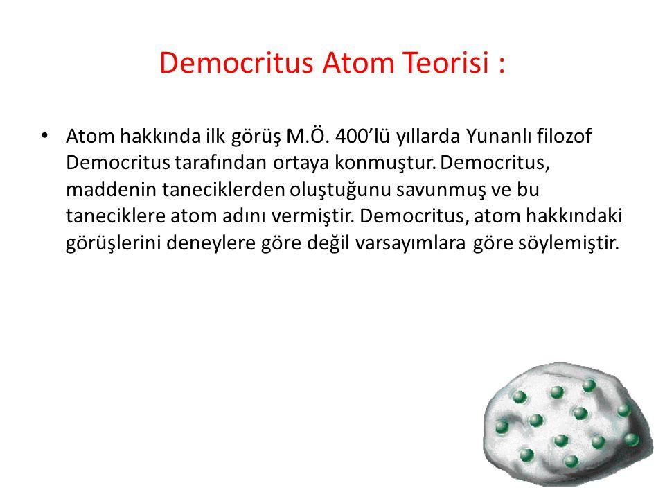 Democritus' a göre; Madde parçalara ayrıldığında en sonunda bölünemeyen bir tanecik elde edilir ve bu tanecik atomdur.