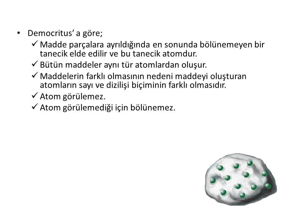 Örnek : Demir elementini oluşturan atomlar demir atomlarıdır.