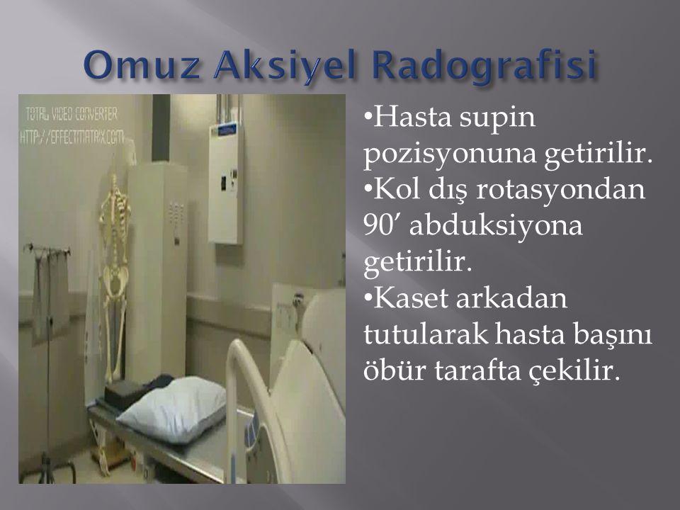 Hasta supin pozisyonuna getirilir.Kol dış rotasyondan 90' abduksiyona getirilir.