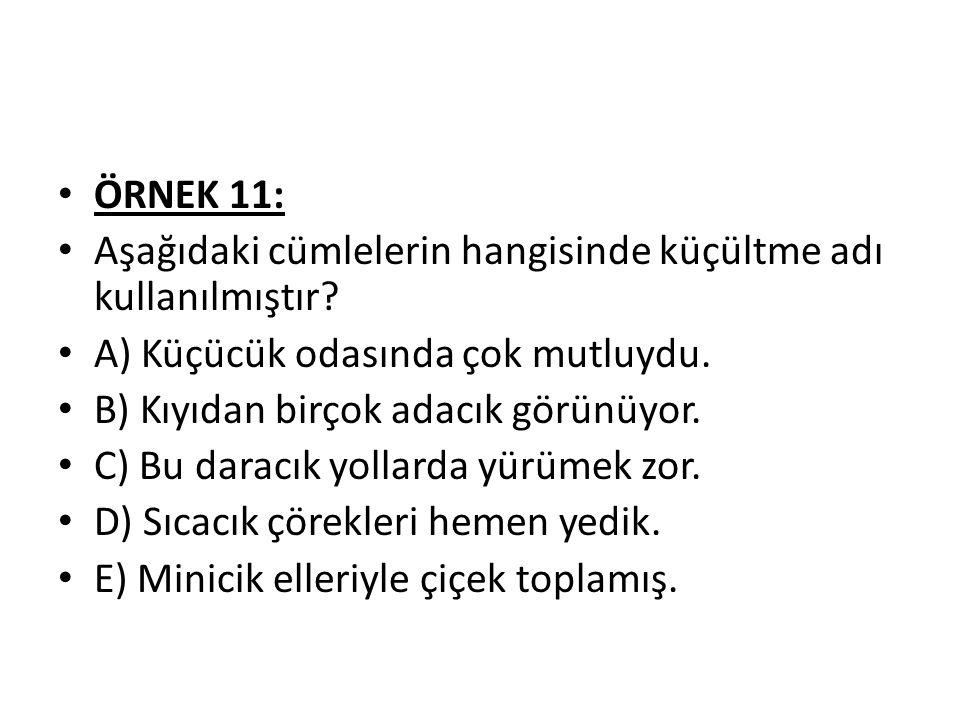 ÖRNEK 11: Aşağıdaki cümlelerin hangisinde küçültme adı kullanılmıştır.