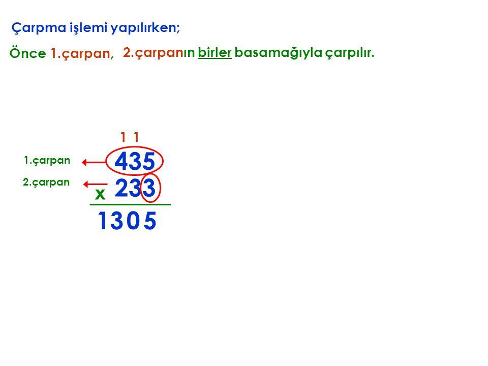 Çarpma işlemi yapılırken; 233 x 435 Önce 1.çarpan, 2.çarpanın birler basamağıyla çarpılır. 1.çarpan 2.çarpan 5 1 0 13 1