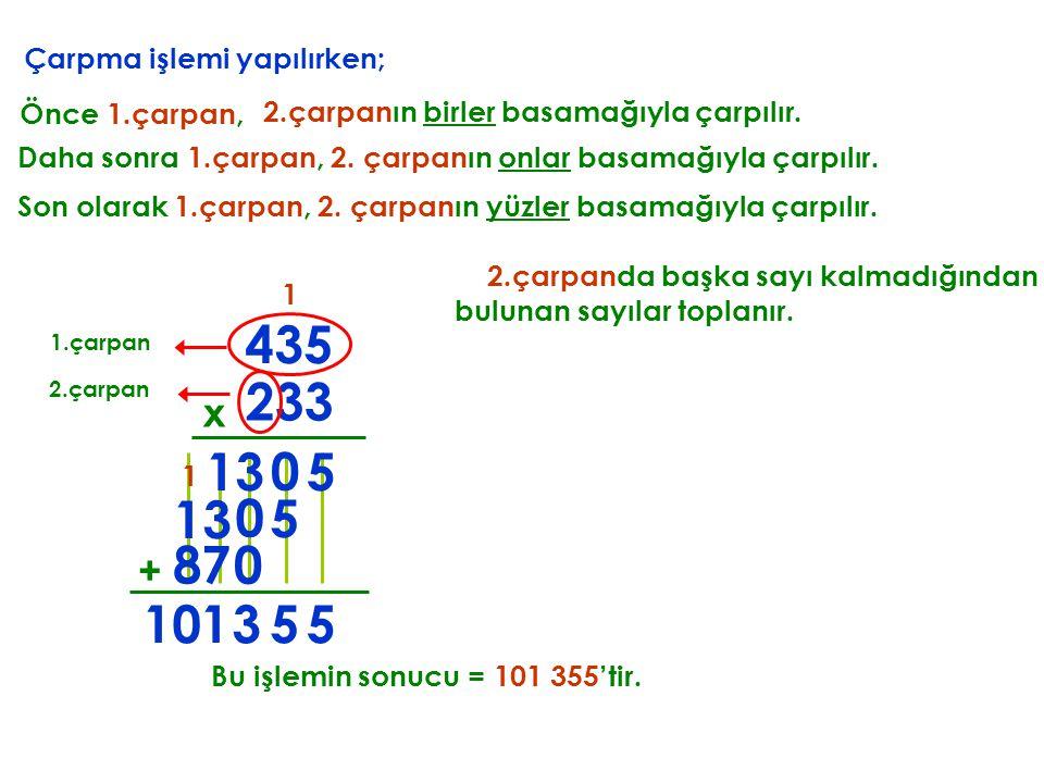 1 Daha sonra 1.çarpan, 2. çarpanın onlar basamağıyla çarpılır. 5 0 13 + 2.çarpanda başka sayı kalmadığından bulunan sayılar toplanır. 553 1 1 Bu işlem