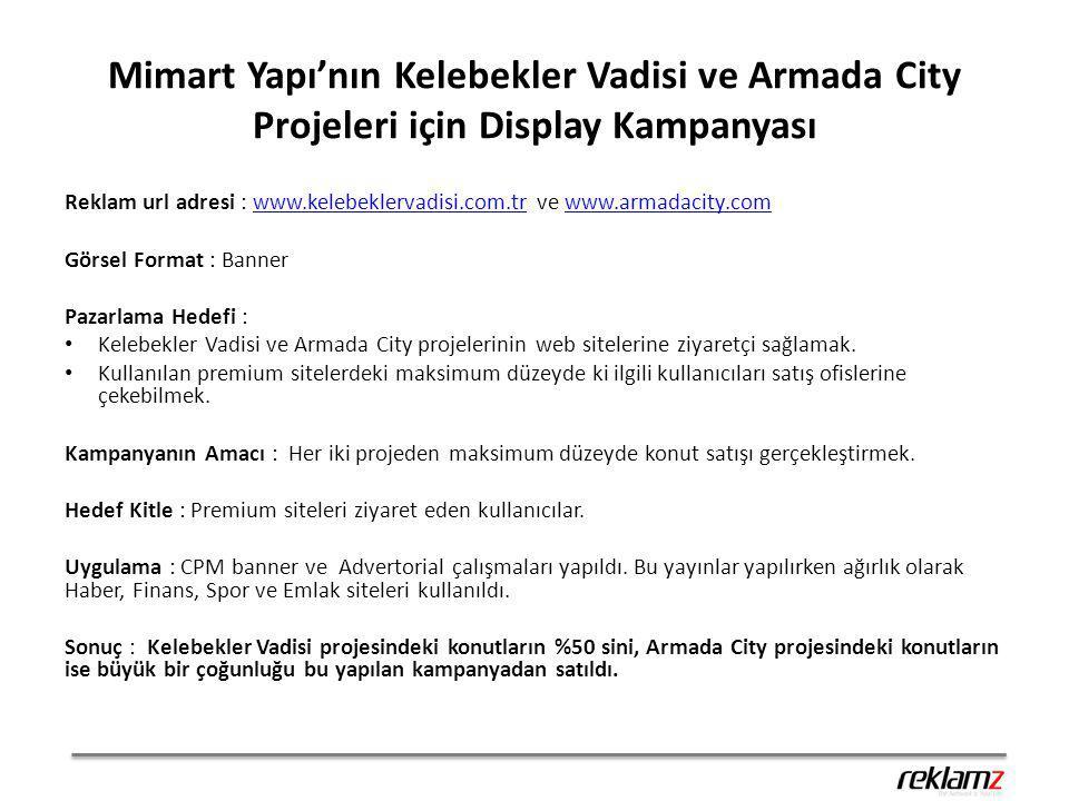 Mimart Yapı'nın Kelebekler Vadisi ve Armada City Projeleri için Display Kampanyası Reklam url adresi : www.kelebeklervadisi.com.tr ve www.armadacity.c