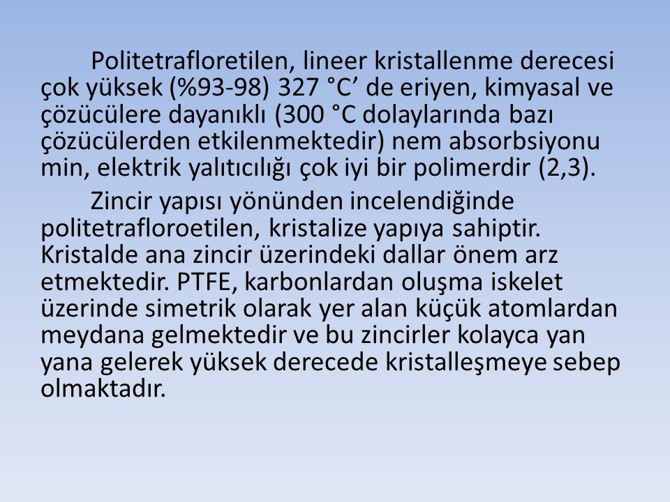Politetrafloretilen, lineer kristallenme derecesi çok yüksek (%93-98) 327 °C' de eriyen, kimyasal ve çözücülere dayanıklı (300 °C dolaylarında bazı çö