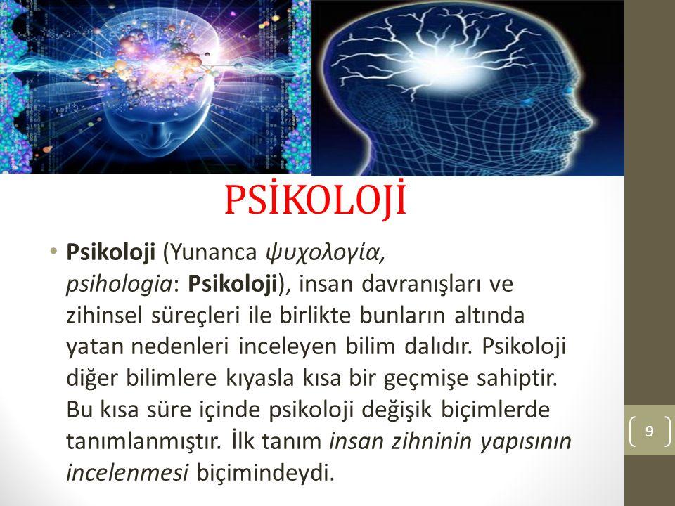 PSİKOLOJİ Psikoloji (Yunanca ψυχολογία, psihologia: Psikoloji), insan davranışları ve zihinsel süreçleri ile birlikte bunların altında yatan nedenleri
