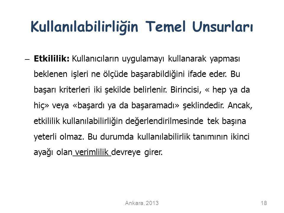 Kullanılabilirliğin Temel Unsurları Ankara, 201318 – Etkililik: Kullanıcıların uygulamayı kullanarak yapması beklenen işleri ne ölçüde başarabildiğini ifade eder.