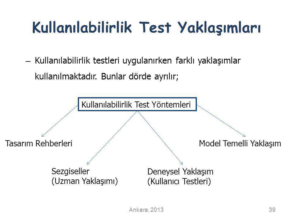 Kullanılabilirlik Test Yaklaşımları Ankara, 201339 – Kullanılabilirlik testleri uygulanırken farklı yaklaşımlar kullanılmaktadır. Bunlar dörde ayrılır