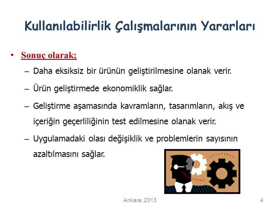 Kullanılabilirlik Derecesi ve Etkililik, Verimlilik, Memnuniyet İlişkisi EtkililikVerimlilikMemnuniyet Kullanılabilirlik Derecesi Ankara, 201325 Tasarım Süreci