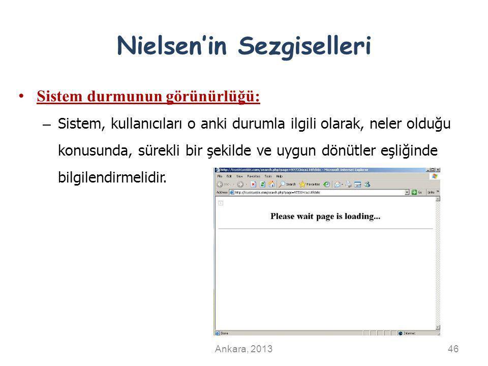 Nielsen'in Sezgiselleri Sistem durmunun görünürlüğü: – Sistem, kullanıcıları o anki durumla ilgili olarak, neler olduğu konusunda, sürekli bir şekilde
