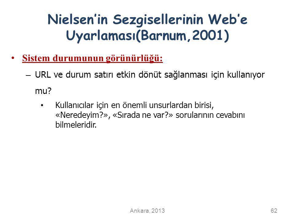 Nielsen'in Sezgisellerinin Web'e Uyarlaması(Barnum,2001) Sistem durumunun görünürlüğü: – URL ve durum satırı etkin dönüt sağlanması için kullanıyor mu.