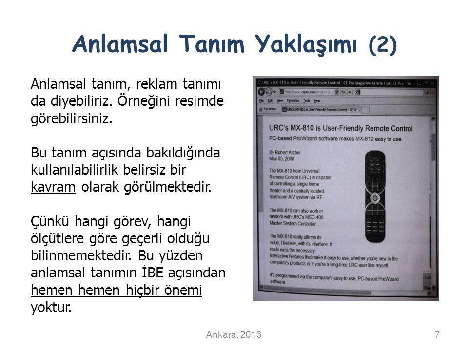 Anlamsal Tanım Yaklaşımı (2) Ankara, 20137 Anlamsal tanım, reklam tanımı da diyebiliriz. Örneğini resimde görebilirsiniz. Bu tanım açısında bakıldığın