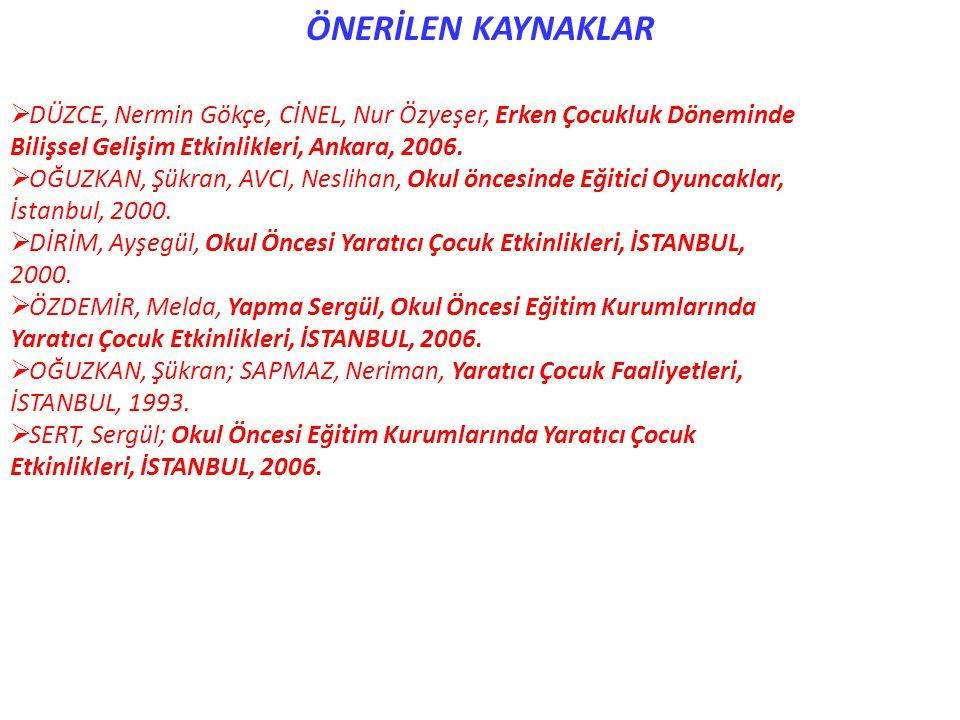 ÖNERİLEN KAYNAKLAR  DÜZCE, Nermin Gökçe, CİNEL, Nur Özyeşer, Erken Çocukluk Döneminde Bilişsel Gelişim Etkinlikleri, Ankara, 2006.  OĞUZKAN, Şükran,