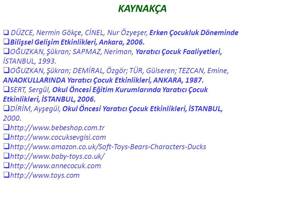 KAYNAKÇA  DÜZCE, Nermin Gökçe, CİNEL, Nur Özyeşer, Erken Çocukluk Döneminde  Bilişsel Gelişim Etkinlikleri, Ankara, 2006.  OĞUZKAN, Şükran; SAPMAZ,