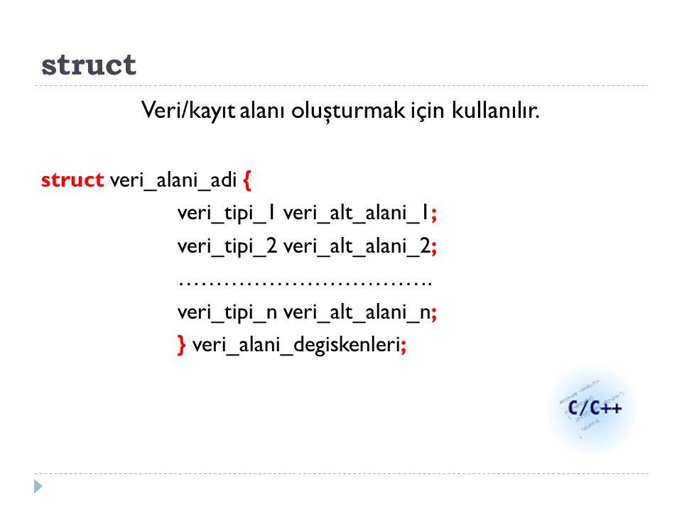 struct Veri/kayıt alanı oluşturmak için kullanılır. struct veri_alani_adi { veri_tipi_1 veri_alt_alani_1; veri_tipi_2 veri_alt_alani_2; ……………………………. v