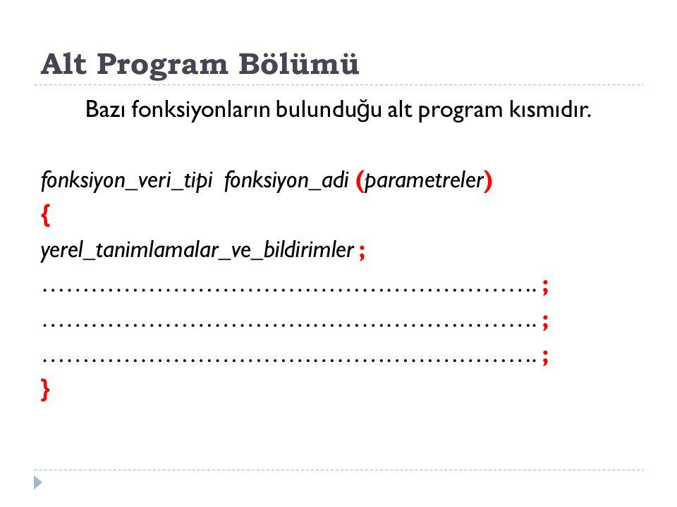 Alt Program Bölümü Bazı fonksiyonların bulundu ğ u alt program kısmıdır. fonksiyon_veri_tipi fonksiyon_adi (parametreler) { yerel_tanimlamalar_ve_bild