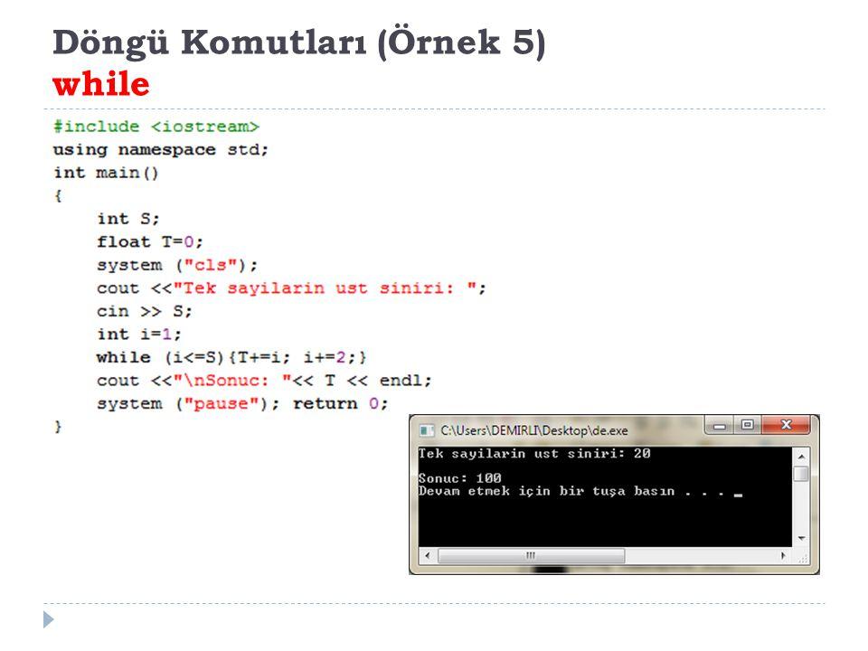 Döngü Komutları (Örnek 5) while