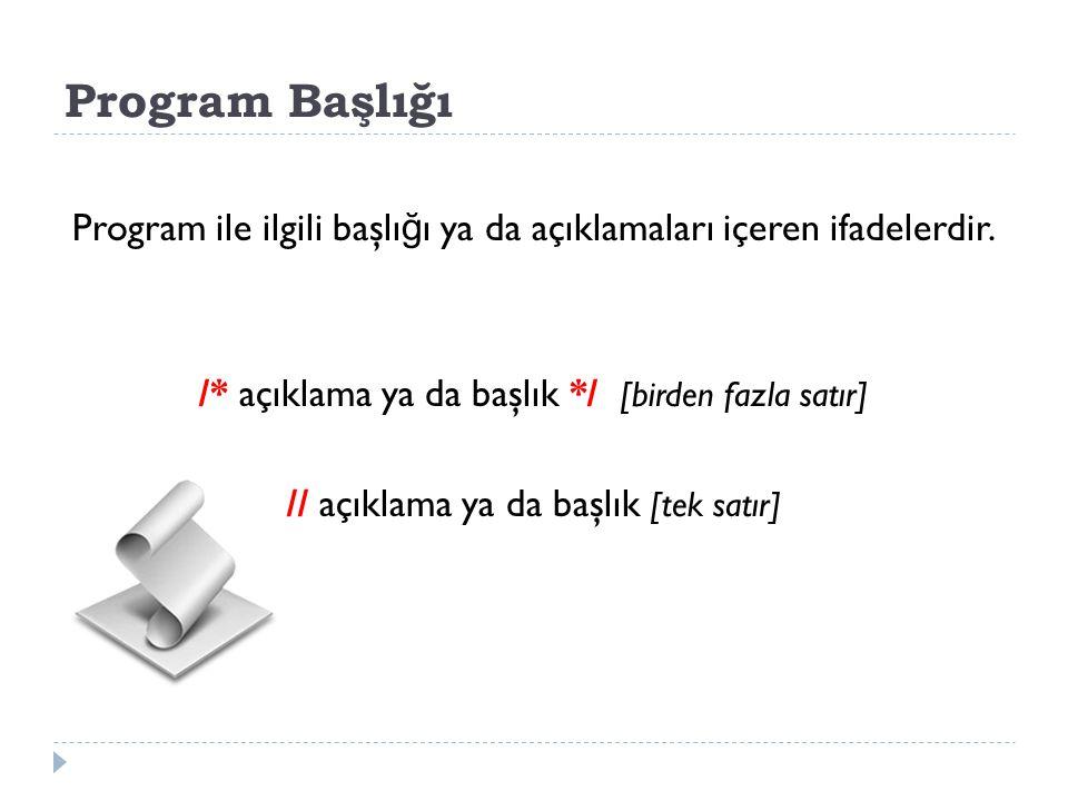 Program Başlığı Program ile ilgili başlı ğ ı ya da açıklamaları içeren ifadelerdir. /* açıklama ya da başlık */ [birden fazla satır] // açıklama ya da