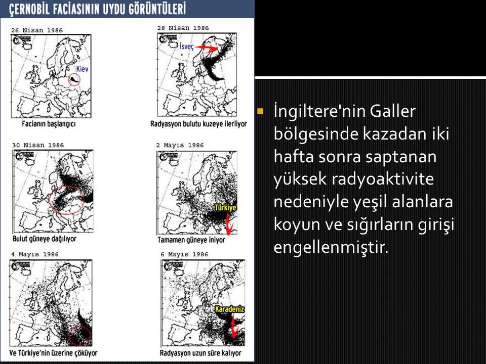  Araştırmalarda ilk yıl doz açısından en fazla radyoaktiviteye maruz kalan Avrupa ülkesi Bulgaristan olarak belirlenmiştir.