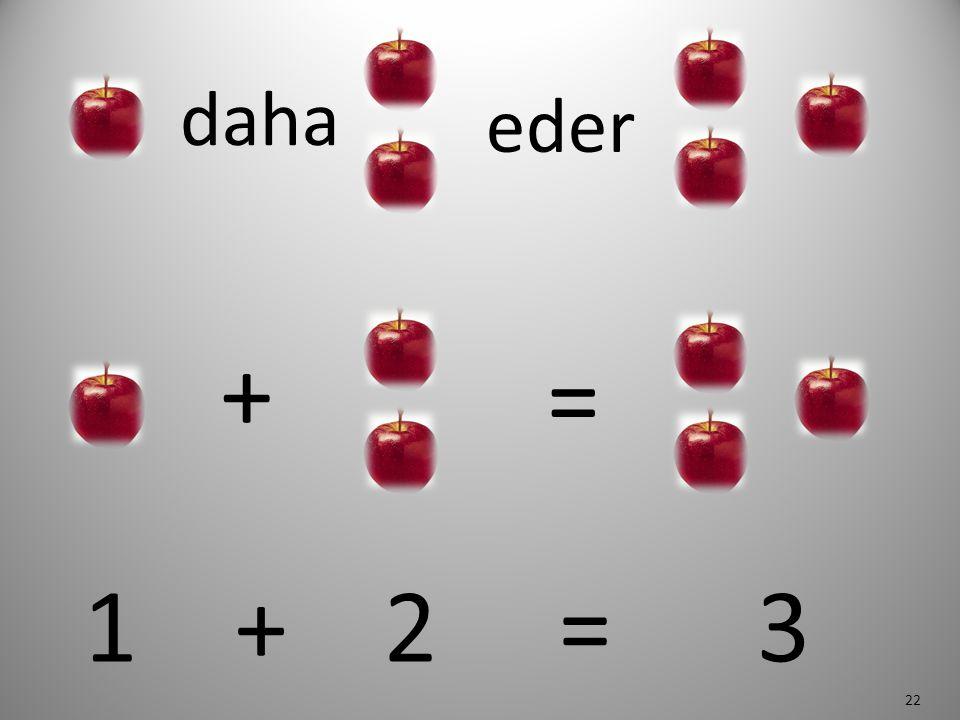 22 daha eder 1 + 2 = 3 + =