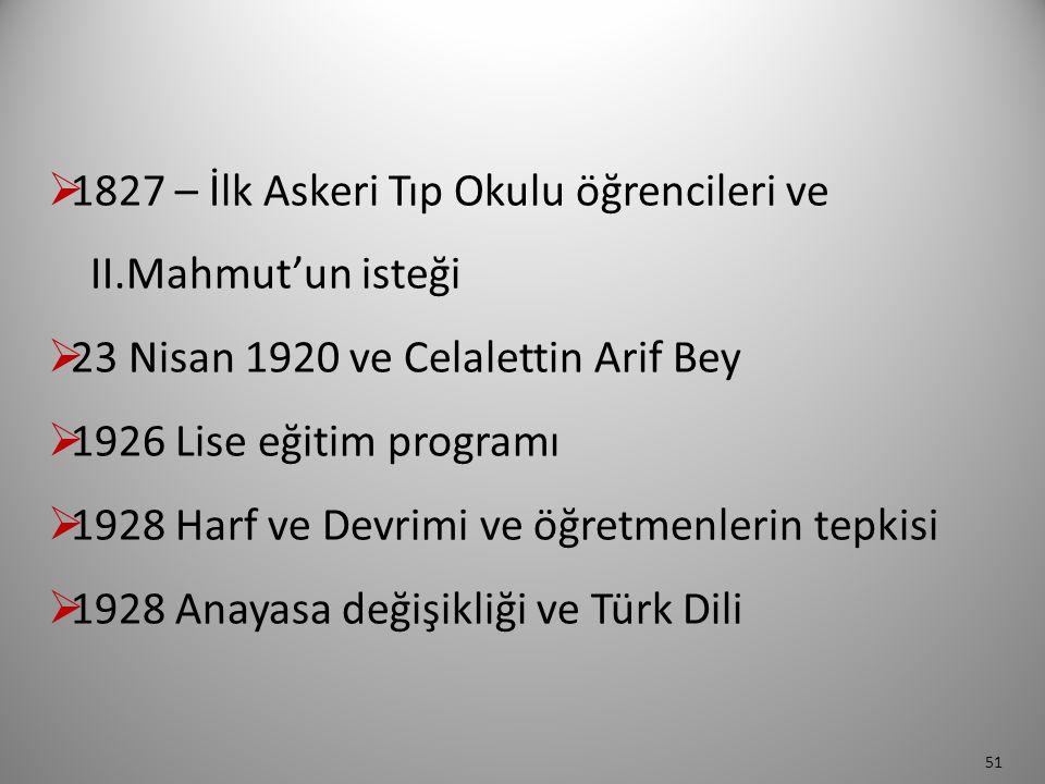  1827 – İlk Askeri Tıp Okulu öğrencileri ve II.Mahmut'un isteği  23 Nisan 1920 ve Celalettin Arif Bey  1926 Lise eğitim programı  1928 Harf ve Dev