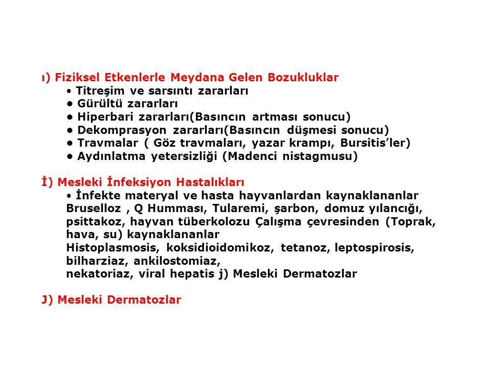 ı) Fiziksel Etkenlerle Meydana Gelen Bozukluklar Titreşim ve sarsıntı zararları Gürültü zararları Hiperbari zararları(Basıncın artması sonucu) Dekomprasyon zararları(Basıncın düşmesi sonucu) Travmalar ( Göz travmaları, yazar krampı, Bursitis'ler) Aydınlatma yetersizliği (Madenci nistagmusu) İ) Mesleki İnfeksiyon Hastalıkları İnfekte materyal ve hasta hayvanlardan kaynaklananlar Bruselloz, Q Humması, Tularemi, şarbon, domuz yılancığı, psittakoz, hayvan tüberkolozu Çalışma çevresinden (Toprak, hava, su) kaynaklananlar Histoplasmosis, koksidioidomikoz, tetanoz, leptospirosis, bilharziaz, ankilostomiaz, nekatoriaz, viral hepatis j) Mesleki Dermatozlar J) Mesleki Dermatozlar