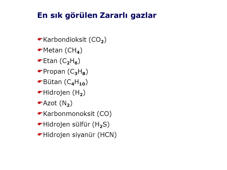 En sık görülen Zararlı gazlar  Karbondioksit (CO 2 )  Metan (CH 4 )  Etan (C 2 H 6 )  Propan (C 3 H 8 )  Bütan (C 4 H 10 )  Hidrojen (H 2 )  Azot (N 2 )  Karbonmonoksit (CO)  Hidrojen sülfür (H 2 S)  Hidrojen siyanür (HCN)